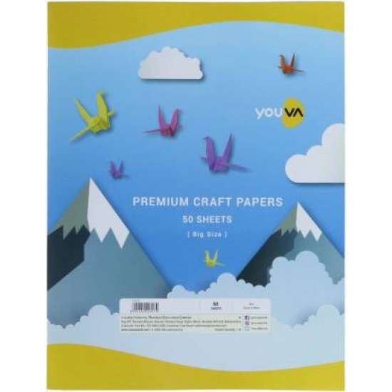 Craft paper  | Big size 22 cm X 28 cm |Pack of 50 mix colour sheets in a packet | Navneet Youva | VT22815