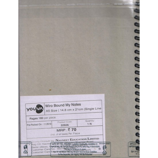 Side Wiro Bound   Single Line   Size 14.8x21 cm   160 Pages   Navneet Youva   VT22826