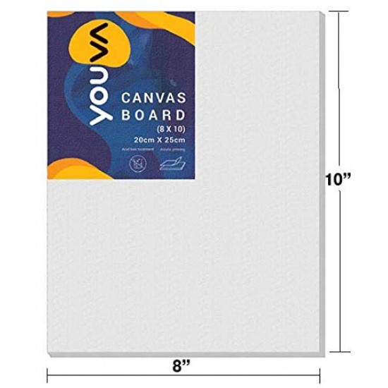 Canvas Board | 8x10 inch | 20cm x 25cm |VT23748 |Pack of 40 | Navneet Youva
